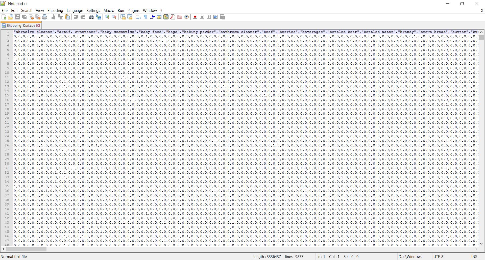 Binary dataset